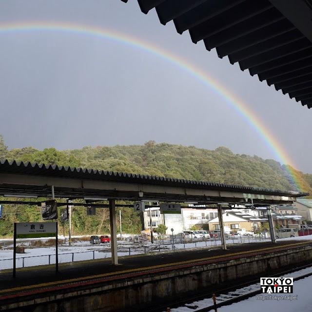 【上井神社】位在半山腰的小神社 巧遇一道完整的彩虹