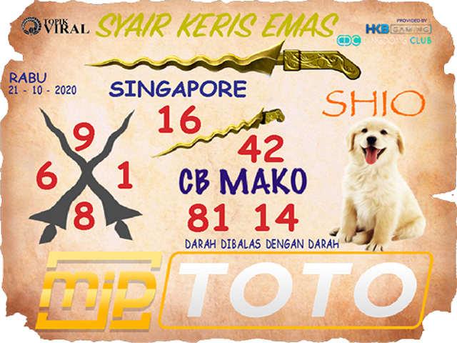 Kode syair Singapore Rabu 21 Oktober 2020 114