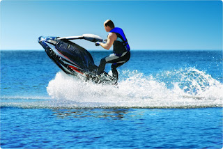 Jet Ski lifting out of the water