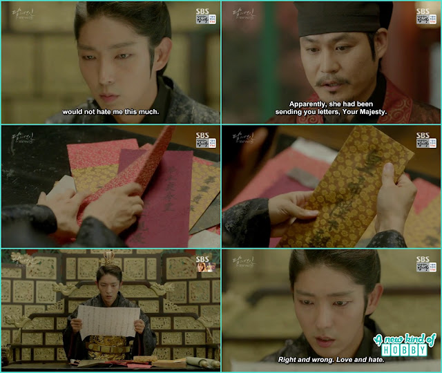 when a person came and told about lady Hae Soo that she sent so many letters to him king become upset and saw all th eletters and cried - Moon Lovers Scarlet Heart Ryeo - Episode 20 Finale (Eng Sub)