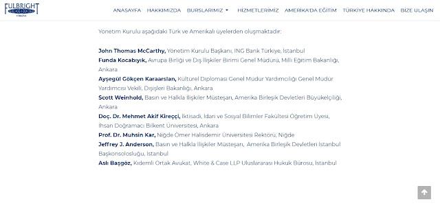 Fullbright eğitim komisyonu üyeleri 2018-2019
