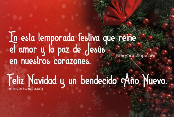 feliz navidad con lindas frases tarjeta roja navideña con adornos por mery bracho