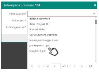 Tampilan alokasi jam (jam terpakai dan sisa jam) mata pelajaran Bahasa Indonesia