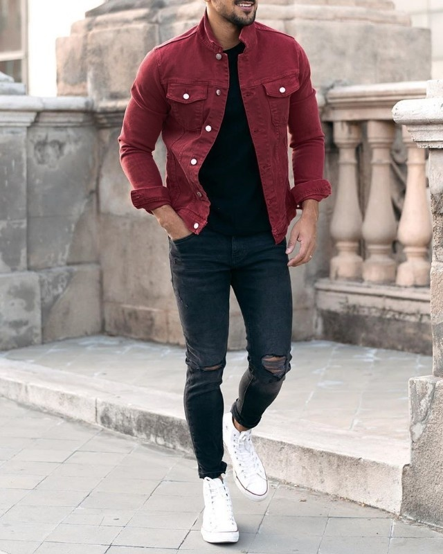 Maroon denim jacket and jeans combo