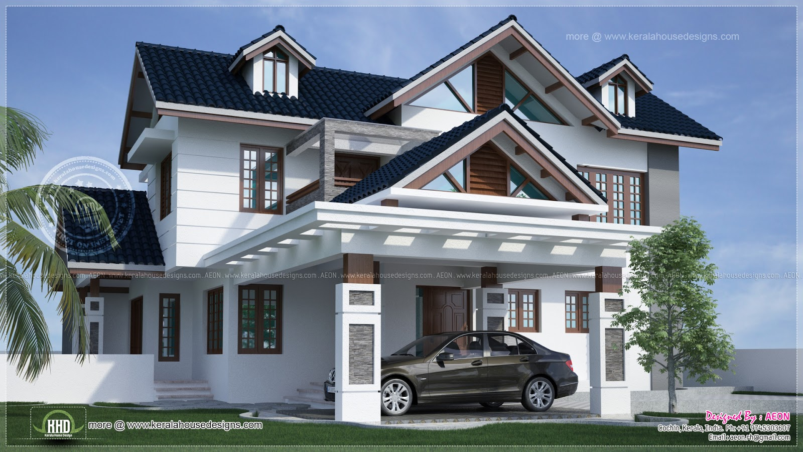 Front Car Porch Elevation : River side kerala style residence exterior design