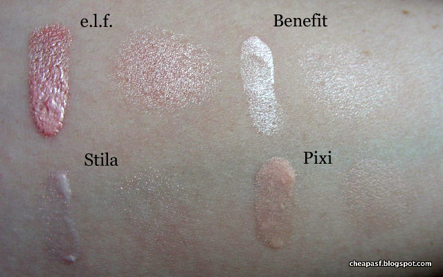 Swatches of e.l.f. Shimmering Facial Whip in Lilac Petal, Benefit High Beam, Stila All Over Shimmer Liquid Luminizer in Pink Shimmer, Pixi Brightening Primer in Pearl Essence