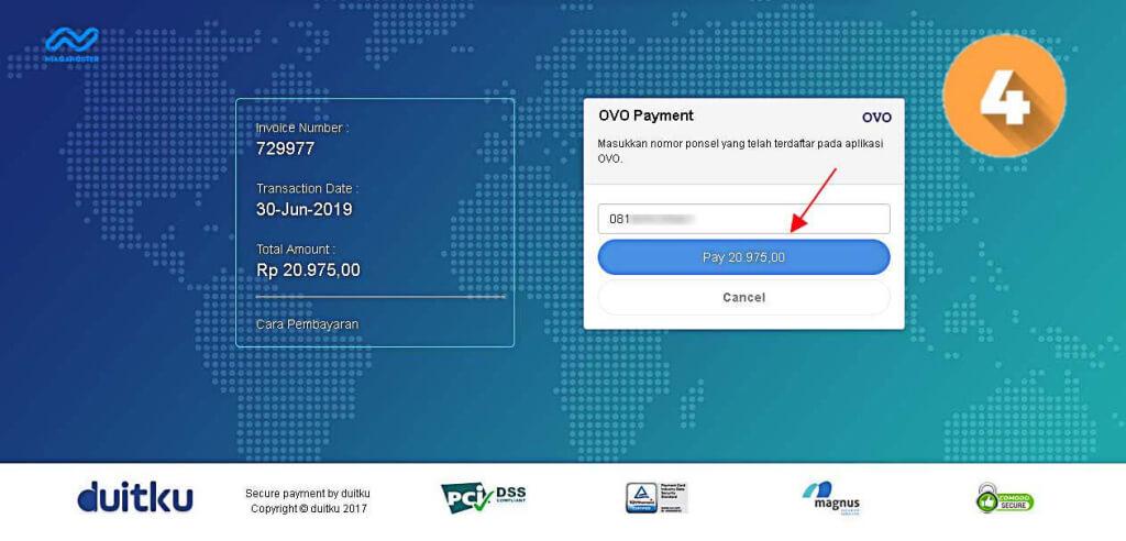 Masukkan nomor ponsel terdaftar OVO