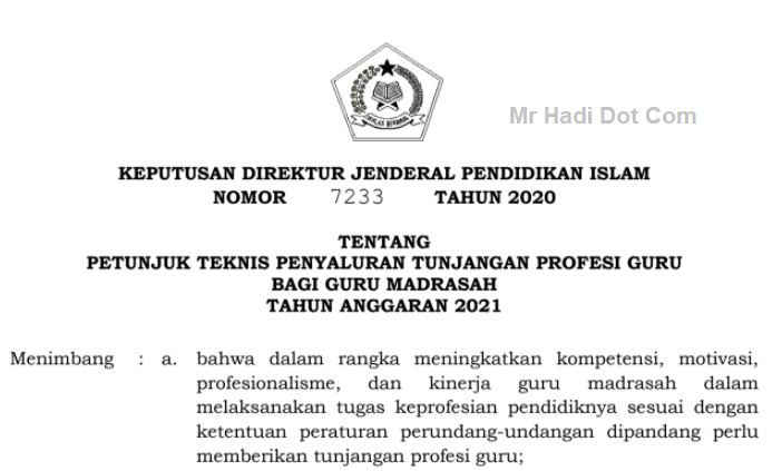 Juknis Penyalusan TPG Bagi Guru Madrasah
