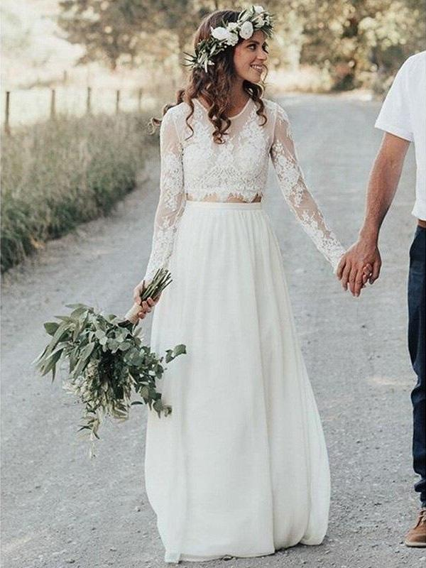 Rustic Lace Top Long Sleeve Bridal Separates