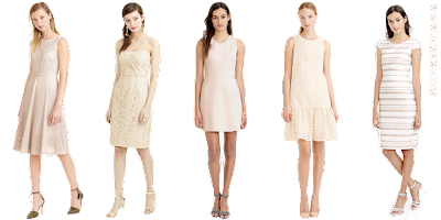 White Background of 5 Neutral Dresses