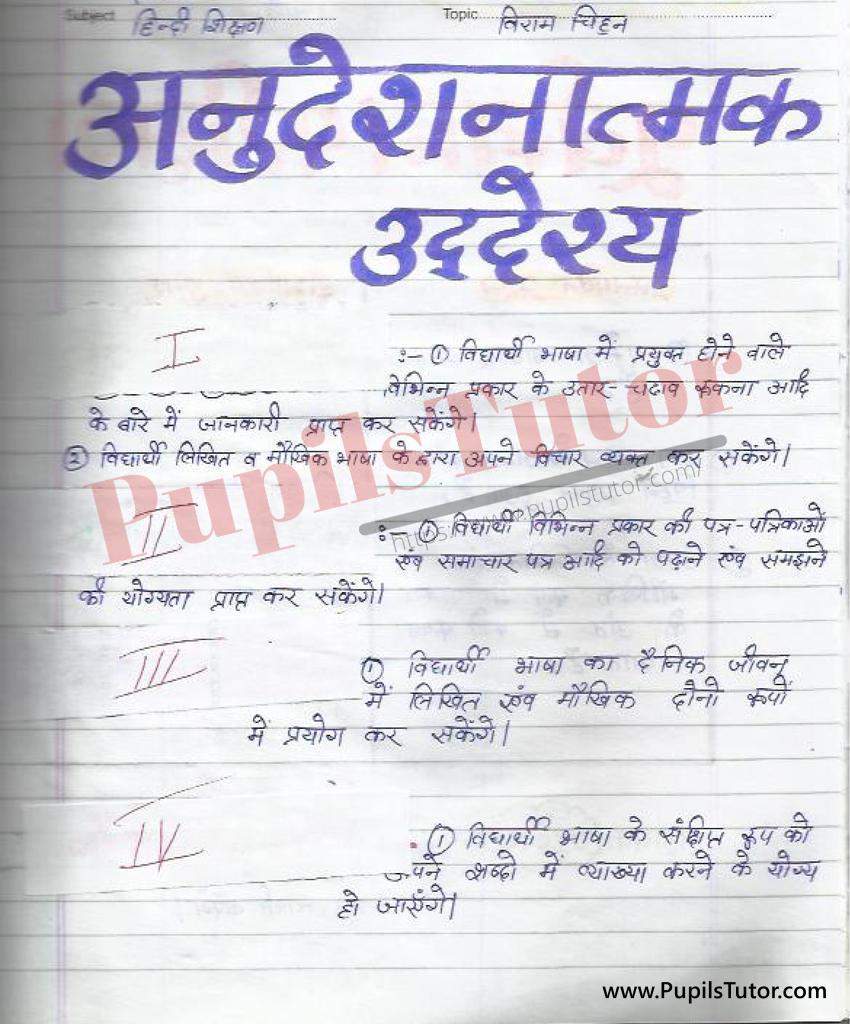 Viram Chinh Aur Viram Chinh Ke Prakar Lesson Plan in Hindi for B.Ed First Year - Second Year - DE.LE.D - DED - M.Ed - NIOS - BTC - BSTC - CBSE - NCERT Download PDF for FREE