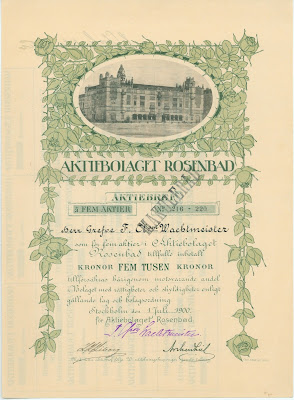share certificate from the Rosenbad AB from Stockholm