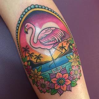 ลายสักนก Flamingo