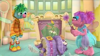 Abby Cadabby, Blögg, Gonnigan, Mrs. Sparklenose, Abby's Flying Fairy School Pinocchio Process, Sesame Street Episode 4325 Porridge Art season 43
