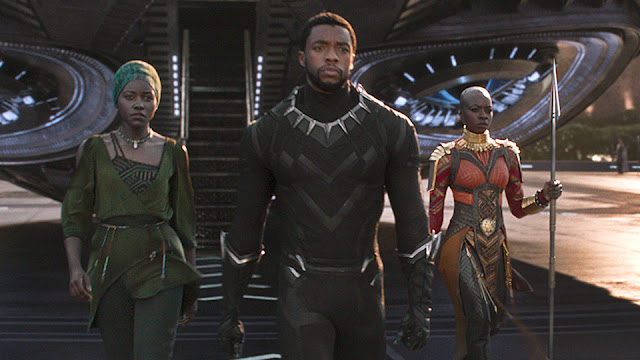 "Lupita Nyong'o, Chadwick Boseman, and Danai Gurira in ""Black Panther"""