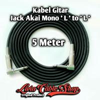 Kabel gitar 5 meter jack akai mono ' L ' to akai mono ' L '