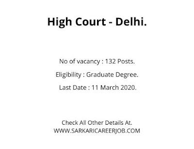 Delhi High Court Latest Recruitment 2020   132 Assistant Post Delhi Court Recruitment 2020.