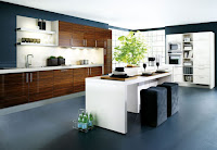 Contemporary kitchen island design with white countertop and breakfast table