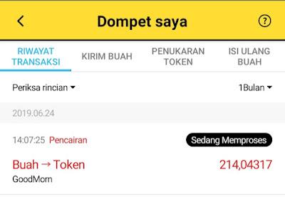 Cara Withdraw Buah di Aplikasi Good Morning Menjadi MCC Coin