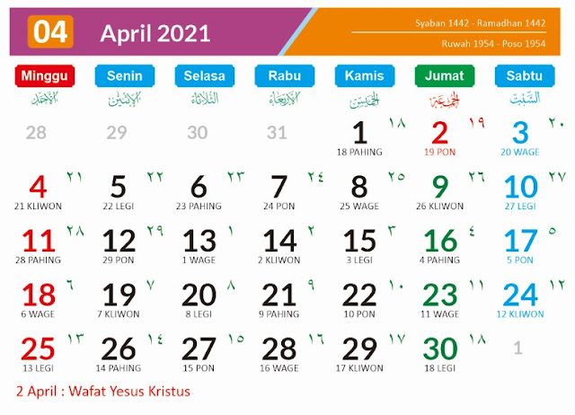 Kalender 2021 Bulan Arpil