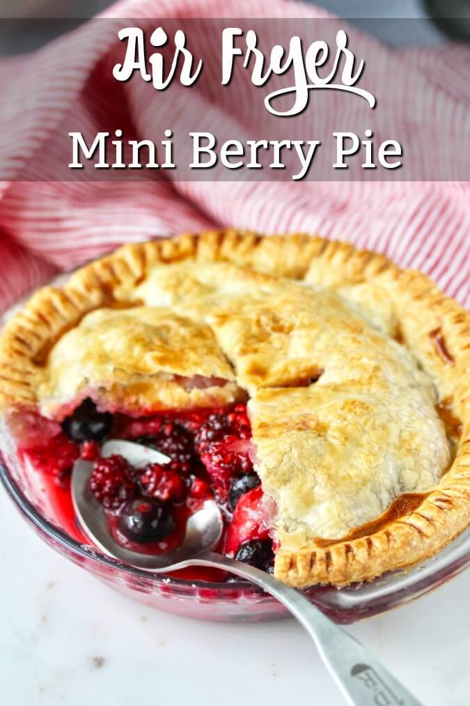 This mini berry pie is made with a mixture of four different berries and is baked in an air fryer. The mixture of strawberries, raspberries, blueberries, and blackberries is so fresh, sweet, and summery.