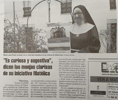 Publicación en La Nueva España sobre el matasellos en las Clarisas de Villaviciosa