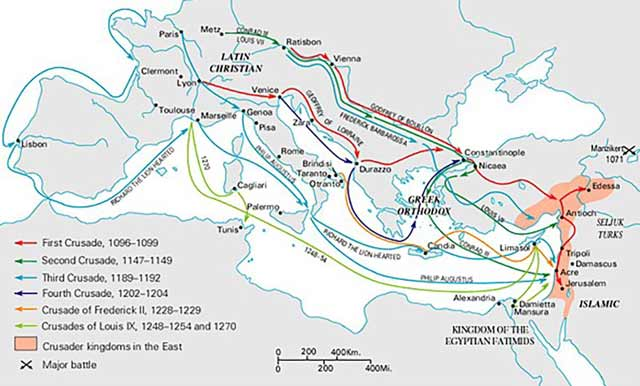 Map of the Crusades Byzantium.filminspector.com