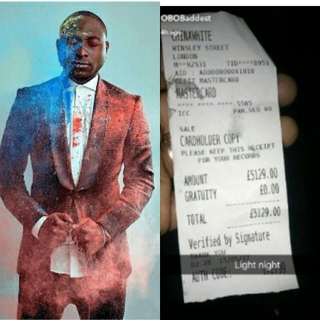 See how much Davido spent in London Night Club -