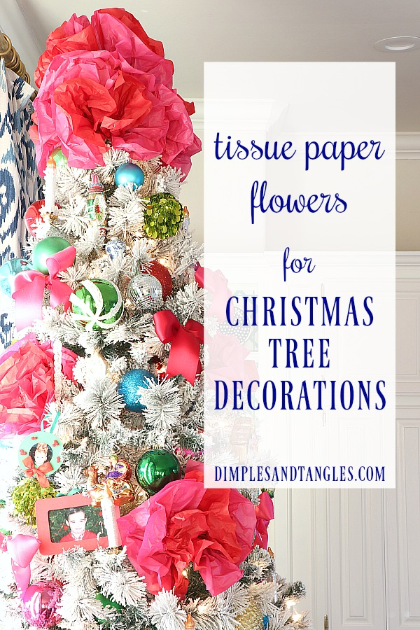 how to make tissue paper flowers, hot pink and red Christmas decorations