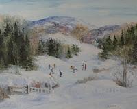 Vacances de Noël, huile 16 x 20 par Clémence St-Laurent - enfants qui patinent sur un étang gelé à la campagne