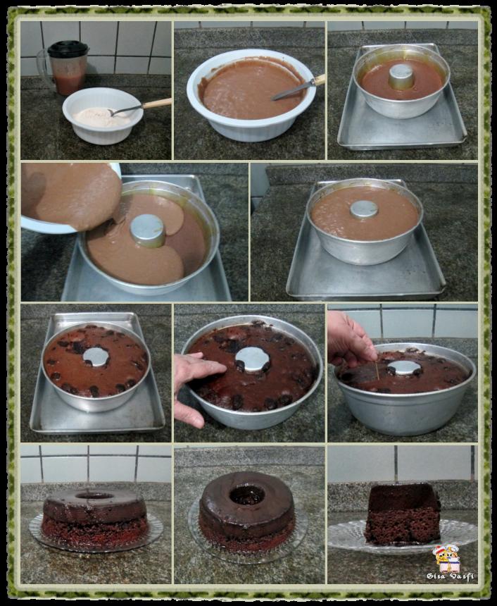 Bolo-pudim de chocolate 5