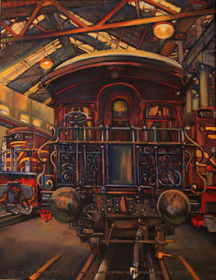 plein air oil painting of the Governor General's carriage in the Large Erecting Shop, Eveleigh Railway Workshops by industrial heritage artist Jane Bennett