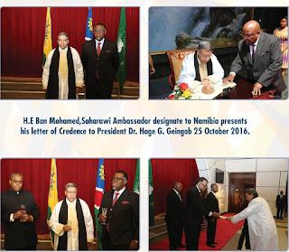 أباه الديه الشيخ يقدم أوراق إعتماده سفيرا مفوضا فوق العادة لدى جمهورية ناميبيا