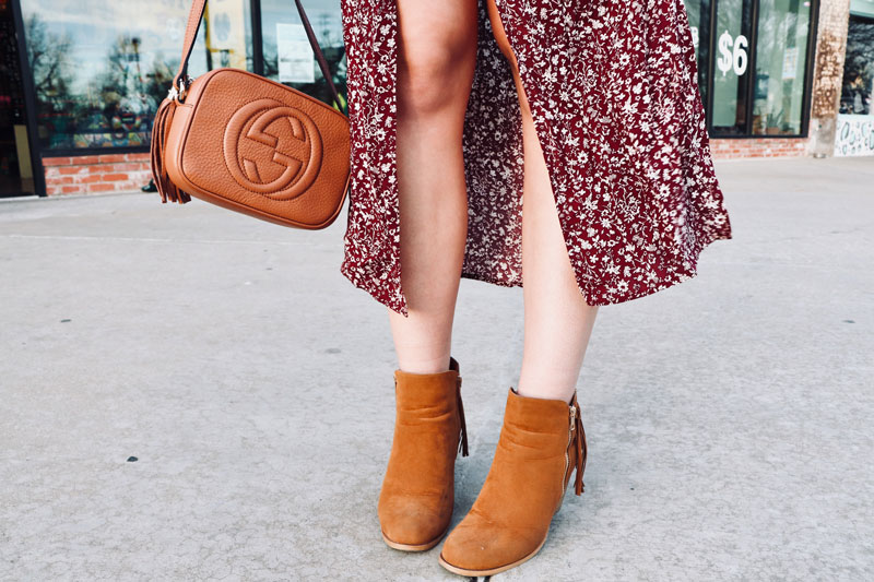 country chic dress and booties