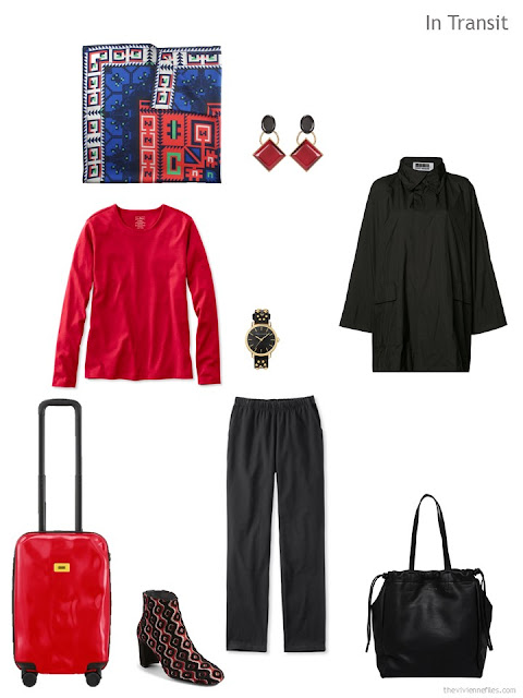 Travel outfit in red and black