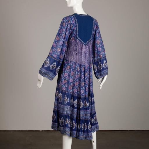 Vintage Gauze Indian Blue Hippie Boho Dress