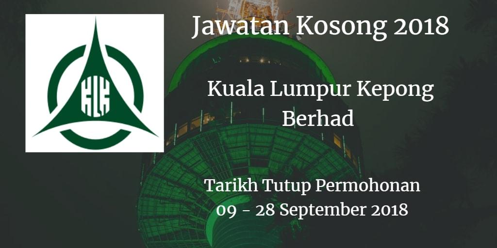 Jawatan Kosong Kuala Lumpur Kepong Berhad 09 - 28 September 2018