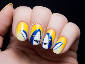 Katy Perry's Halftime Sharks Nail Art by @chalkboardnails