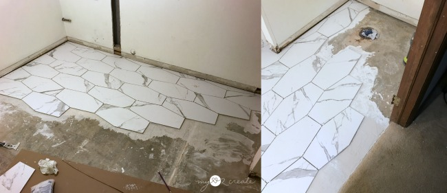 how to tile a hexagon cement floor