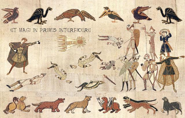 """Un tapiz medieval con el texto """"Y darás muerte primero al mago"""""""