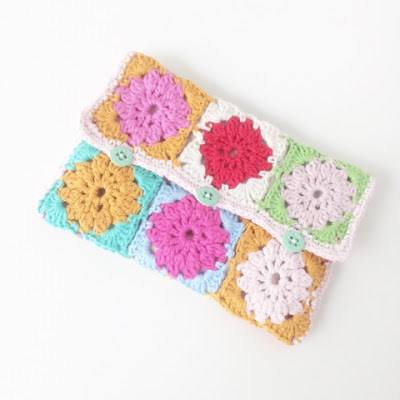 Crocheted granny square pencil case