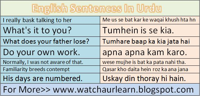 Daily English Sentences With Their Meaning In Urdu Daily Urdu