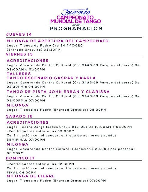 programacion campeonato de tango 2016