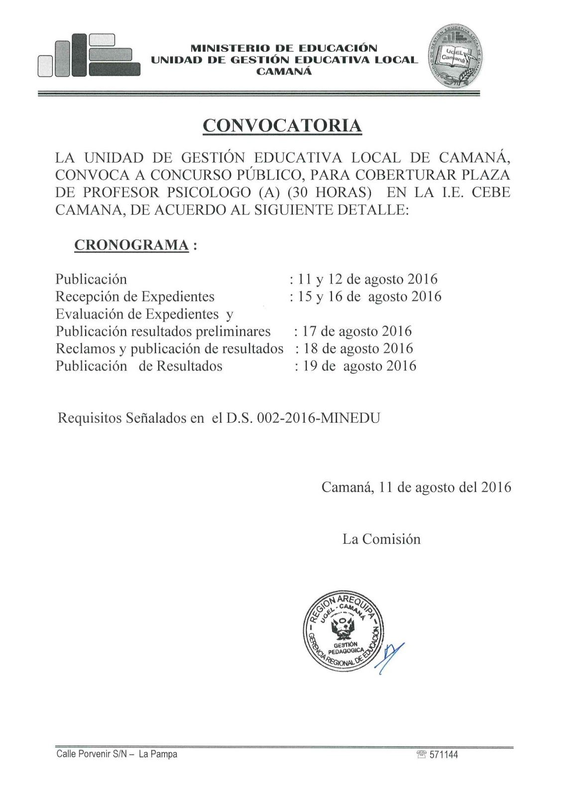 Cronograma de convocatoria para plazas de psic logo en la for Sep convocatoria plazas 2016