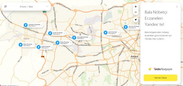 Yandex nöbetçi eczane sistemi