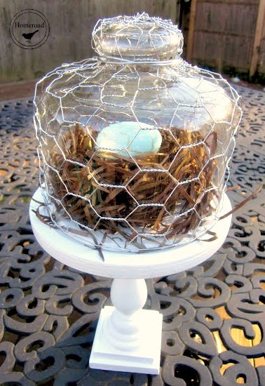 Chicken wire over glass on pedestal dish