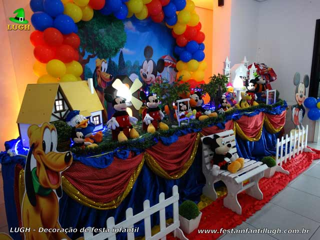 Decoração de aniversário tema do Mickey - Mesa temática para festa masculina
