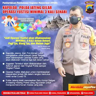 Berlakukan PPKM Polda Jateng Kawal  Operasi Yustisi Didaerah