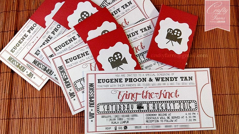 Hollywood Movie Ticket Themed Wedding Card with Belly Band Kuala Lumpur Malaysia, Singapore