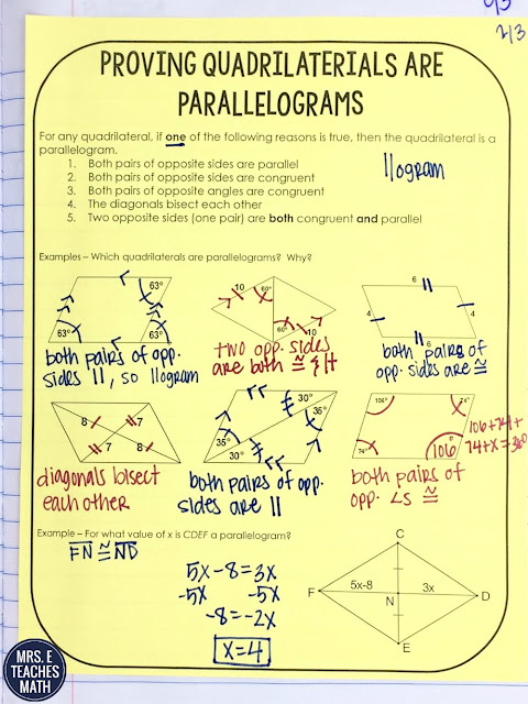 proving quadrilaterals are parallelograms interactive notebook page